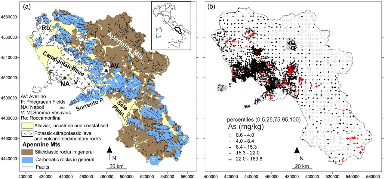 Spatial pattern recognition of arsenic in topsoil using high-density